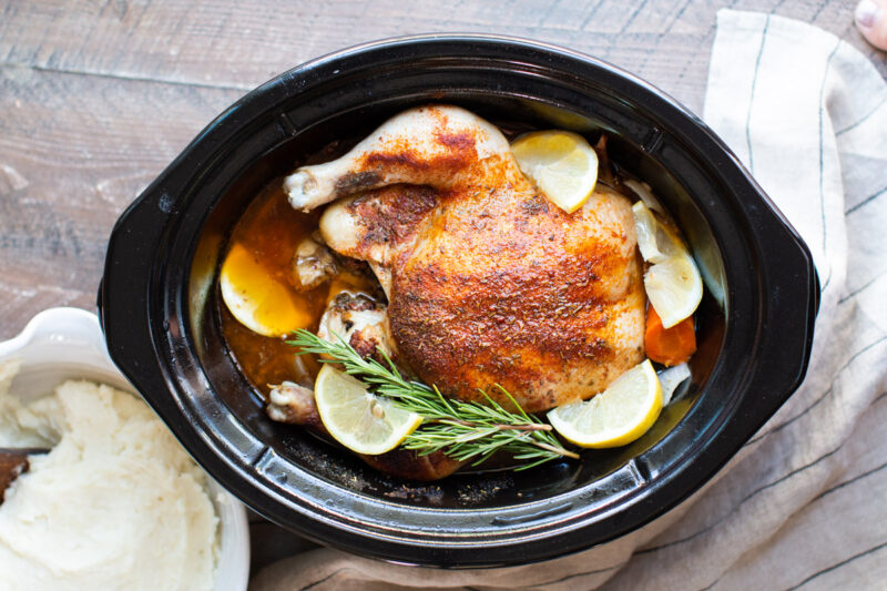 finished cooking whole chicken in a slow cooker
