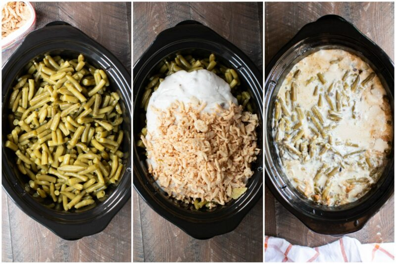 3 photos of green bean casserole steps.