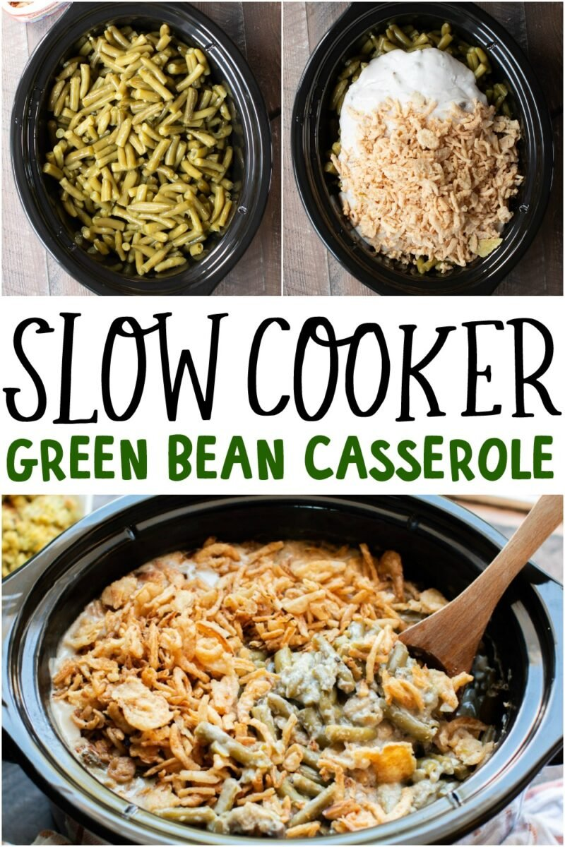 collage of photos of green bean casserole with text overlay for pinterest