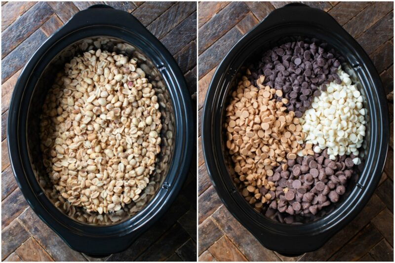 2 photo collage, peanuts in one slow cooker, and chocolate chips on top in another.