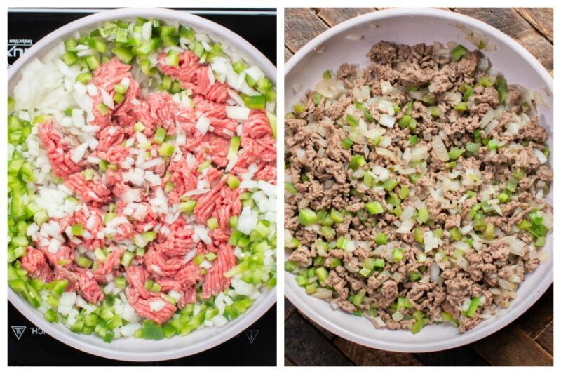 2 photo collage. Ground beef cooking with bell pepper and onion