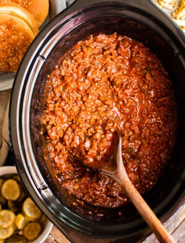 close up of sloppy joe meat and sauce