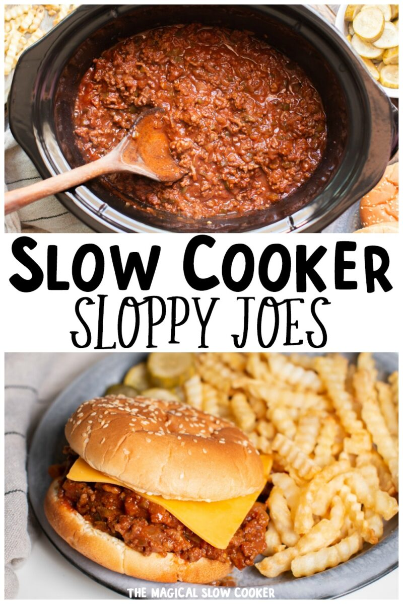 collage of sloppy joe images with text overlay for pinterest