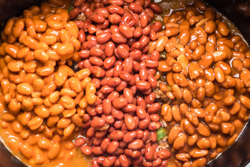 3 kinds of canned beans in slow cooker