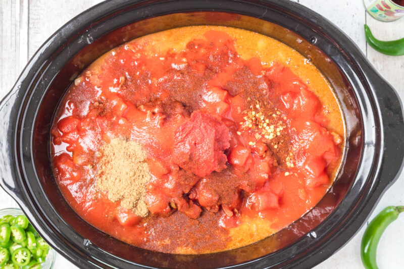 slow cooker hot chili before cooking, in slow cooker