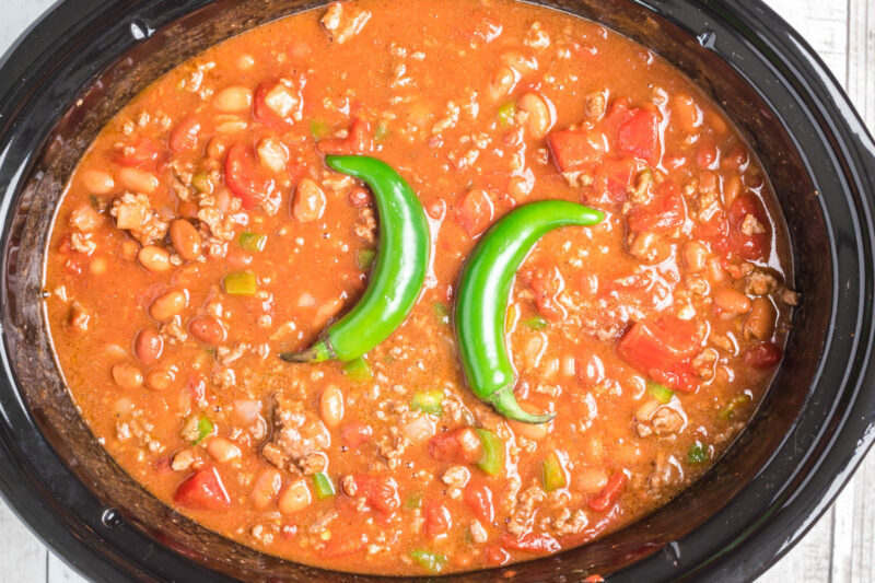 hot chili done cooking in slow cooker