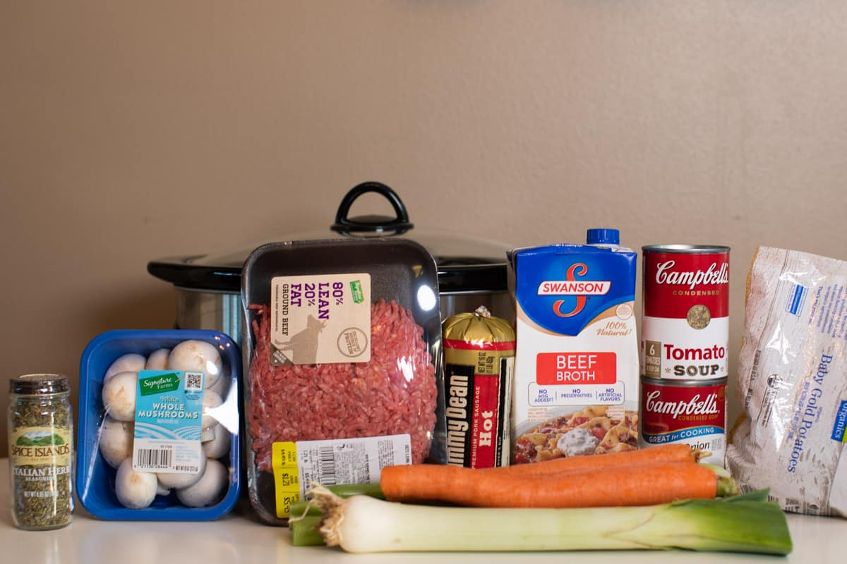 ingredients for witches brew stew in front of slow cooker