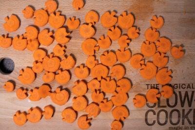 sliced carrots cut into pumpkin shapes