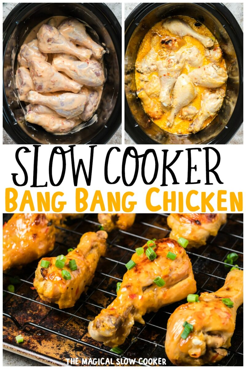 collage of bang bang chicken images for pinterest with text overlay