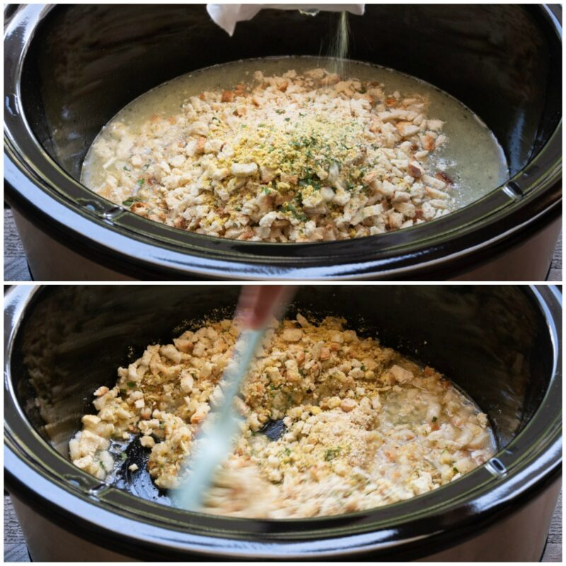 2 image collage. Top image is stuffing being poured into a slow cooker. Bottom, spatula stirring stuffing.