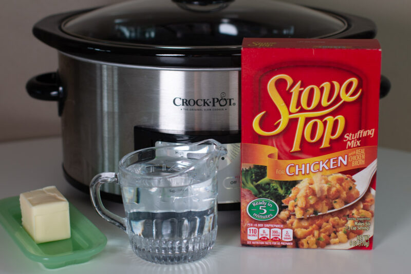 ingredients for stove top stuffing in front of a slow cooker
