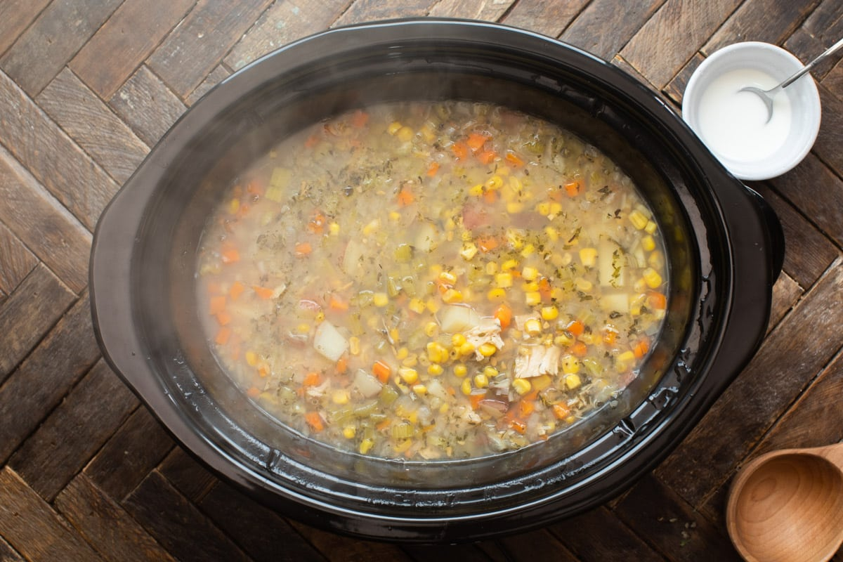 turkey chowder in slow cooker before cream is added