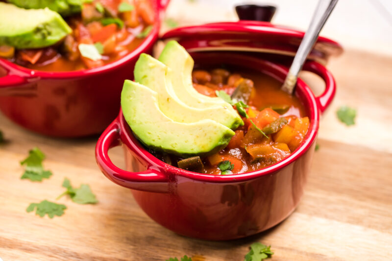 vegetarian chili in red bowl