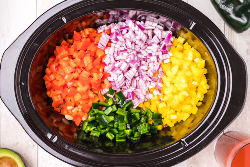 vegetables chopped and in the slow cooker