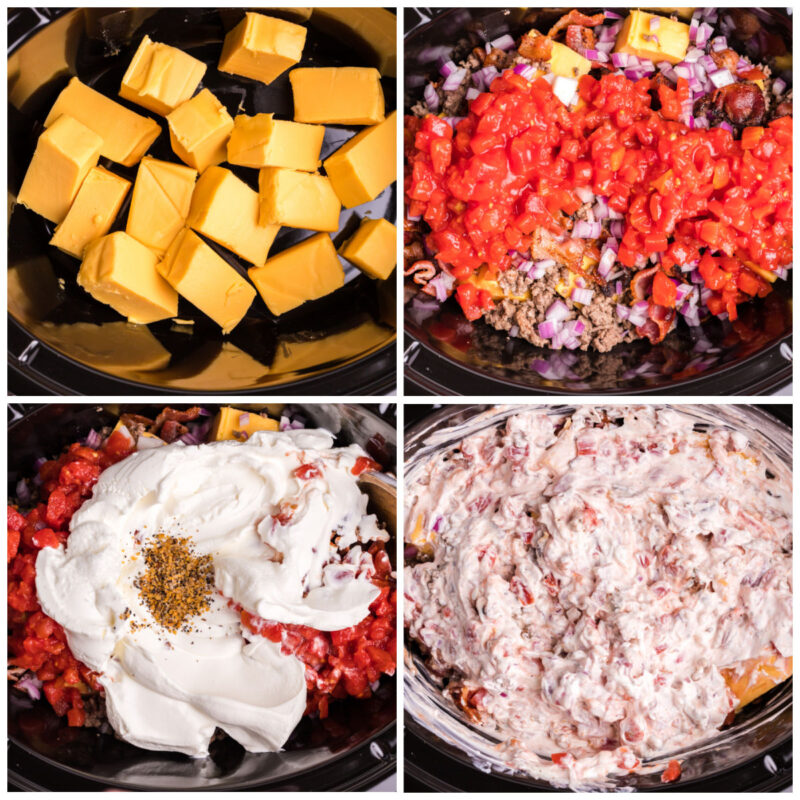 4 photo collage on how to make bacon cheeseburger dip in slow cooker