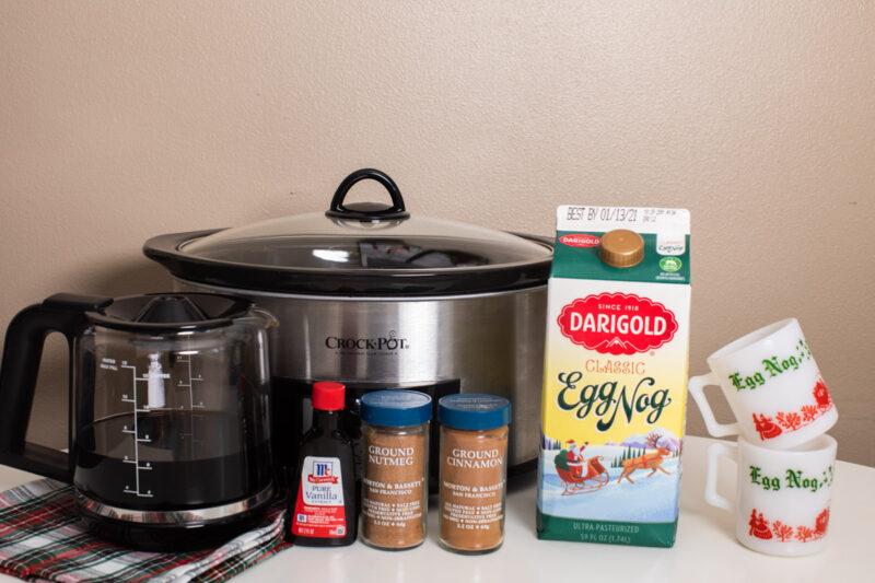 ingredients for egg nog latte in front of slow cooker