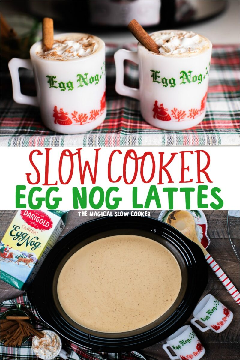 collage of egg nog lattes with text overlay for pinterest