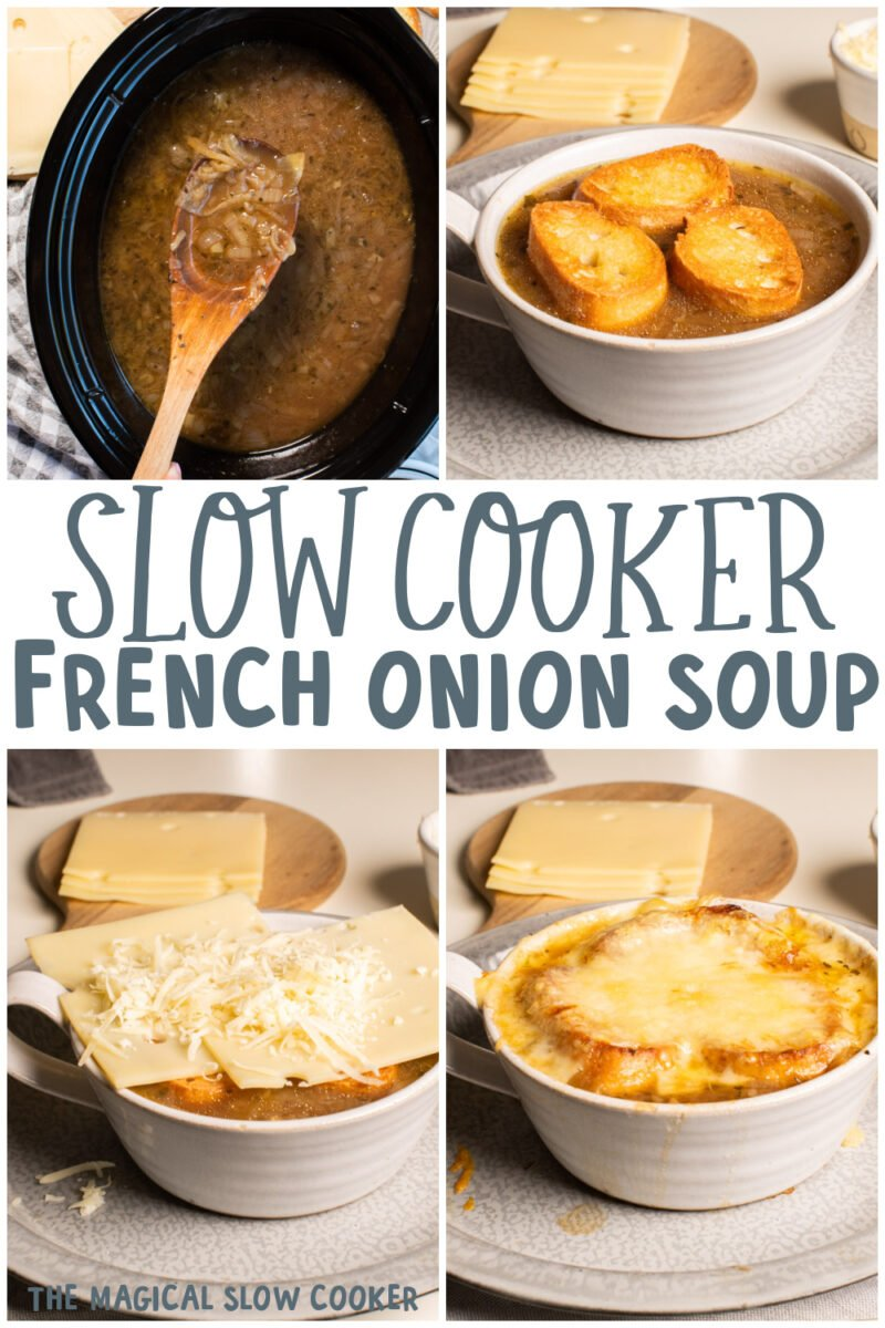 collage of french onion soup images with text overlay for pinterest