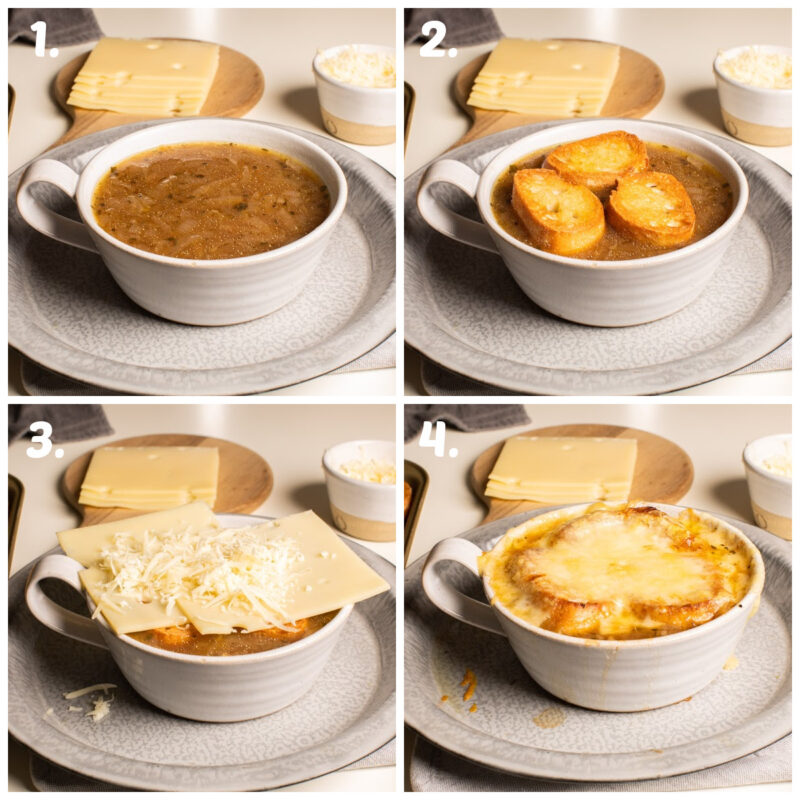 4 photo collage about how to top french onion soup with croutons and cheese, then broil.