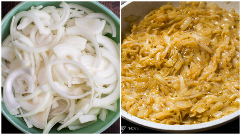 2 photo collage. One photo is a bowl of sliced onions. Other photo caramelized onions in skillet.