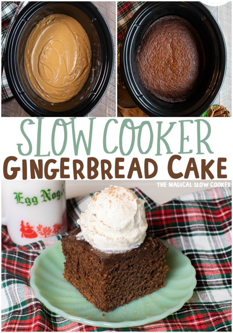 collage of gingerbread cake for pinterest with text overlay for pinterest