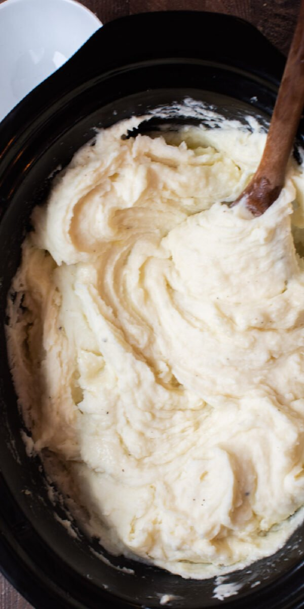 close up of mashed potatoes for pinterest