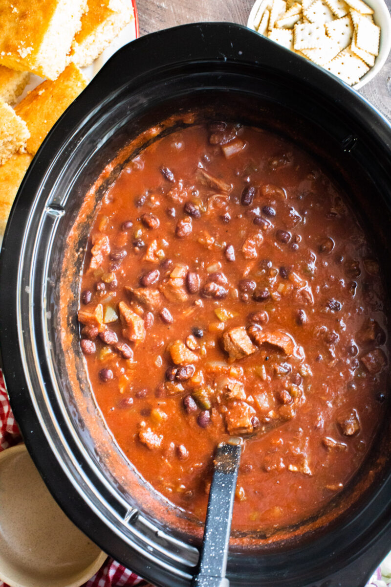 close up of prime rib chili in slow cooker