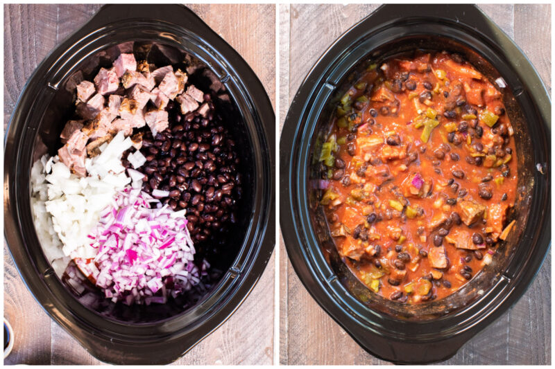 collage of prime rib chili before cooking
