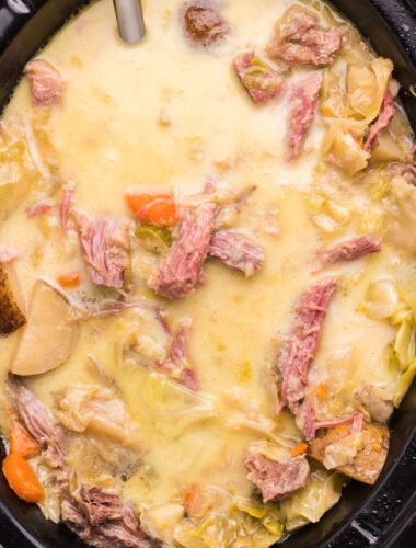 creamy corned beef and cabbage soup in slow cooker