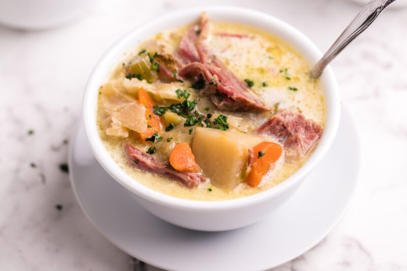 bowl of corned beef and cabbage soup