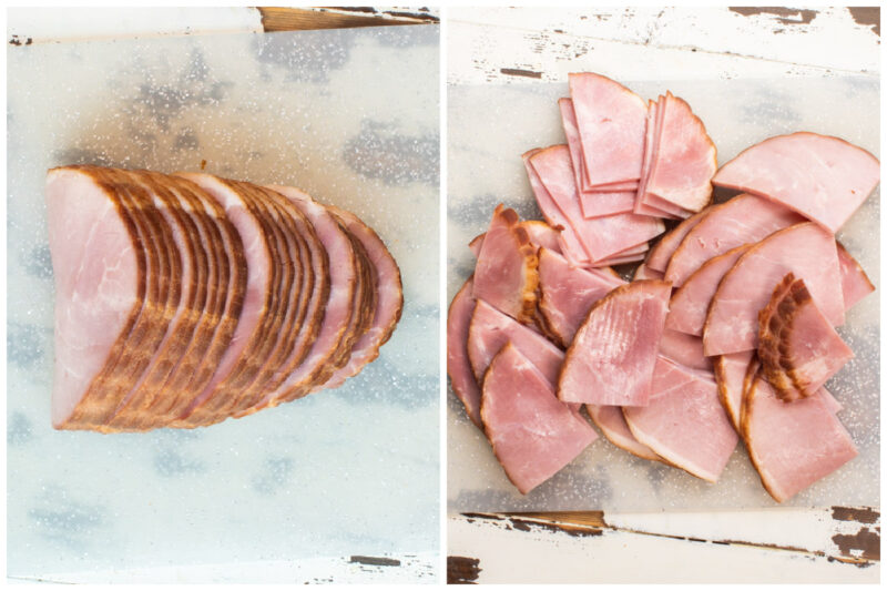 ham before and after cutting in half on cutting board