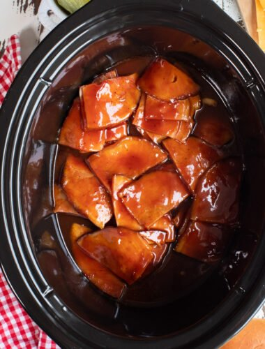 close up of barbecue ham in slow cooker