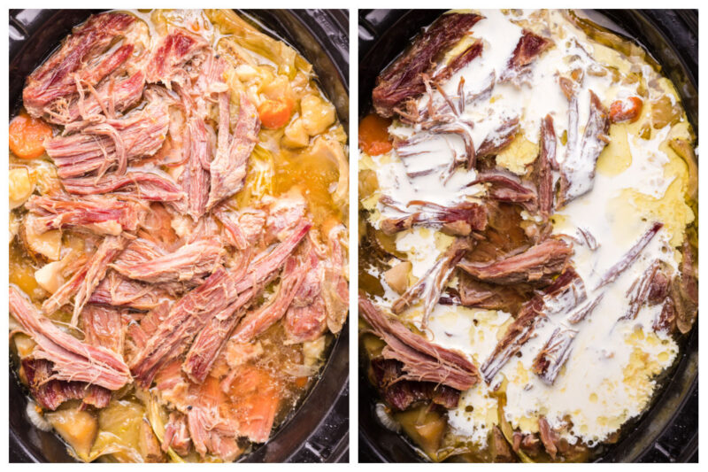 2 photo collage of corned beef soup, one with heavy cream added
