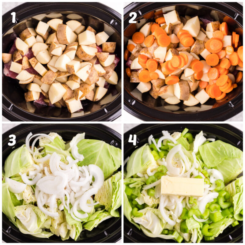 4 step collage on how to add veggies to corned beef and cabbage soup