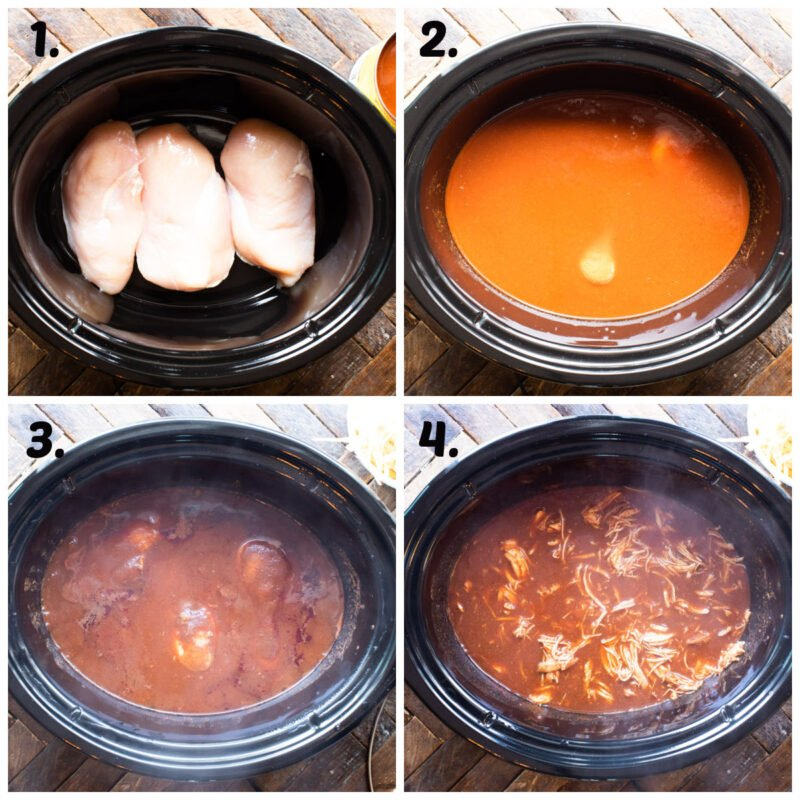 4 photo collage of how to cook chicken in enchilada sauce