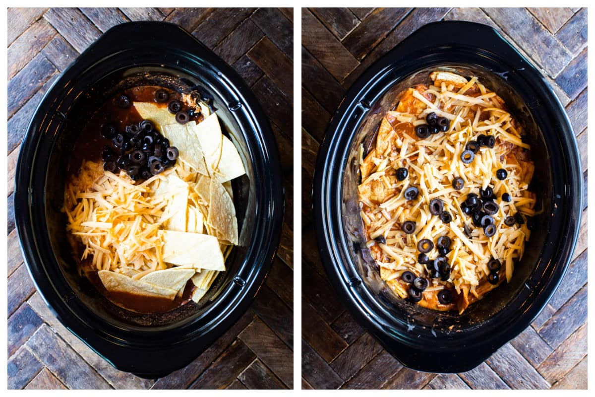 2 photo collage of enchilada casserole being assembled