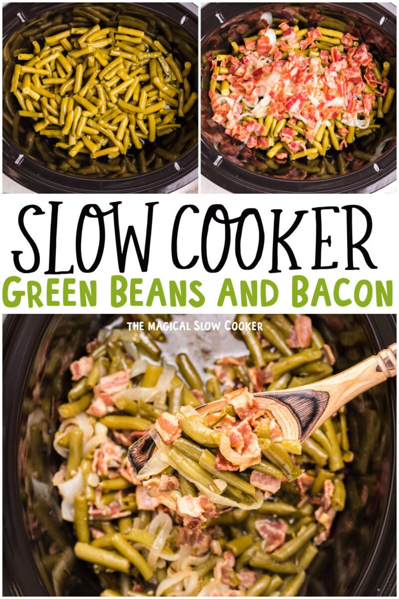 collage picture of green beans and bacon for pinterest