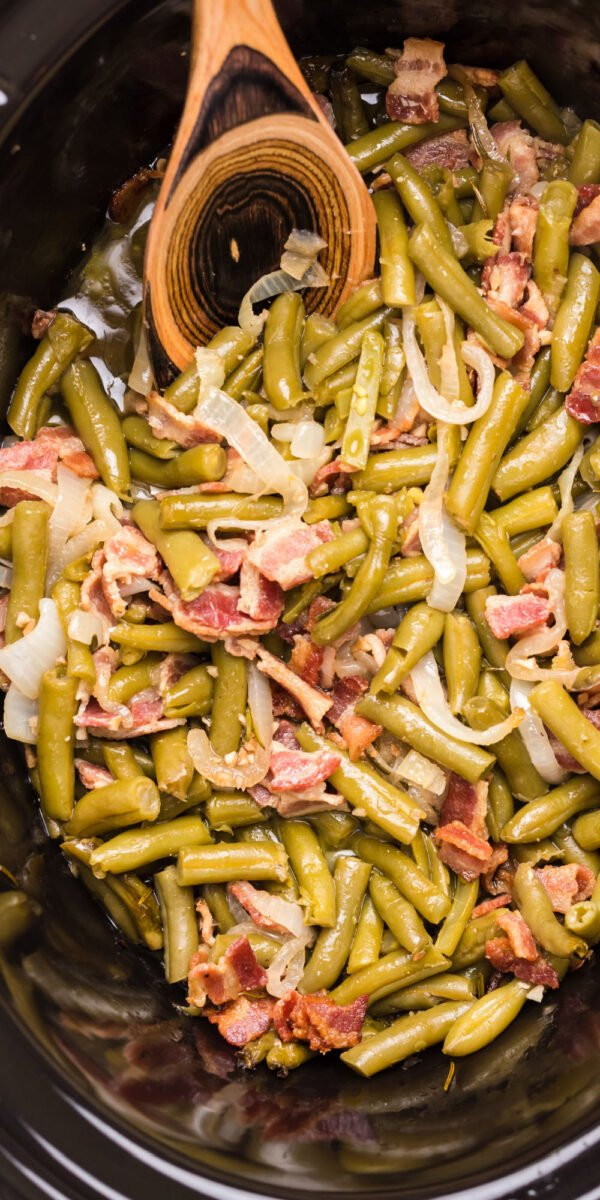 long photo of green beans and bacon in slow cooker