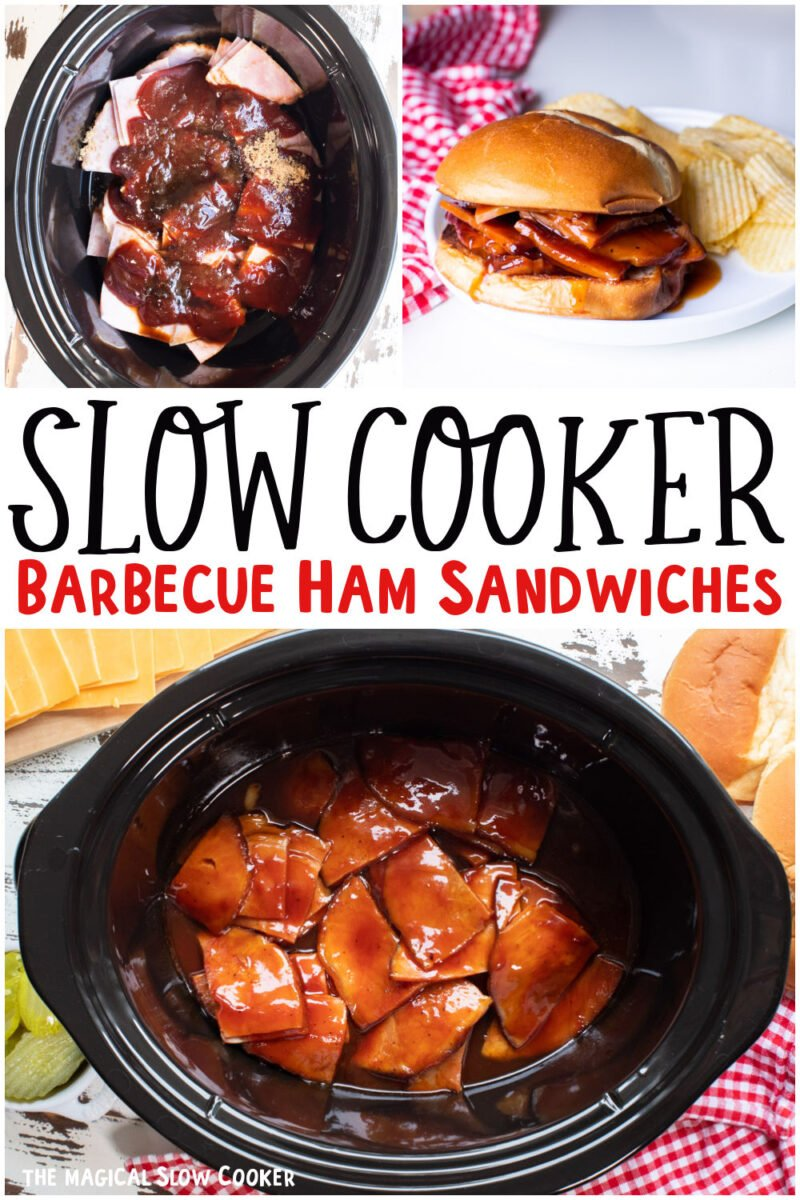 collage of barbecue ham sandwiches with text overlay for pinterest