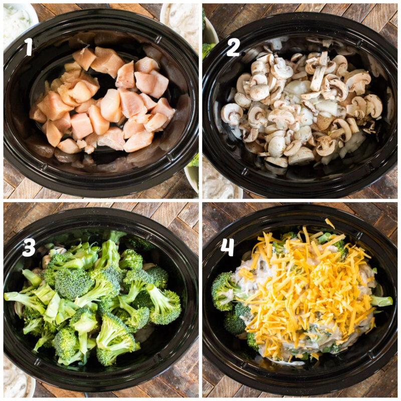 four photo collage of how to make cheesy broccoli chicken
