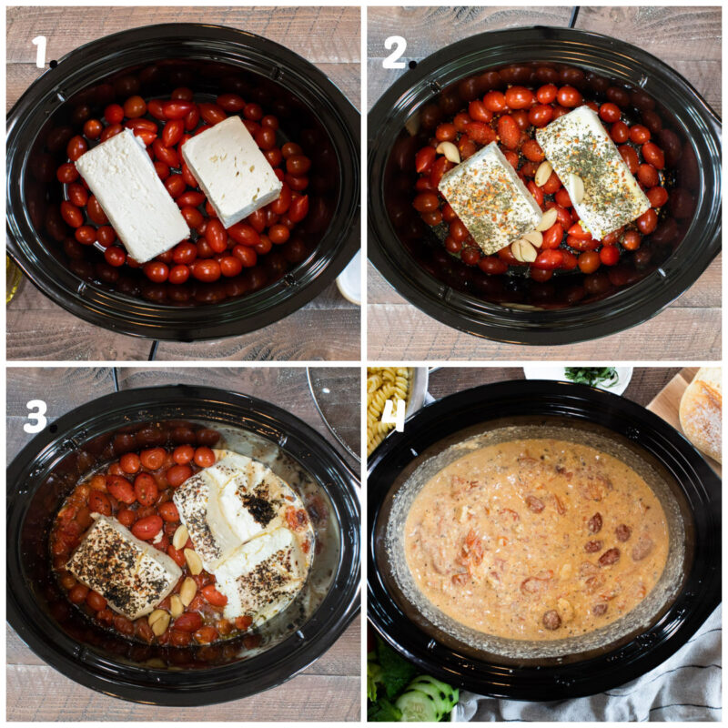 4 photo collage on the steps to make feta tomato pasta in the slow cooker
