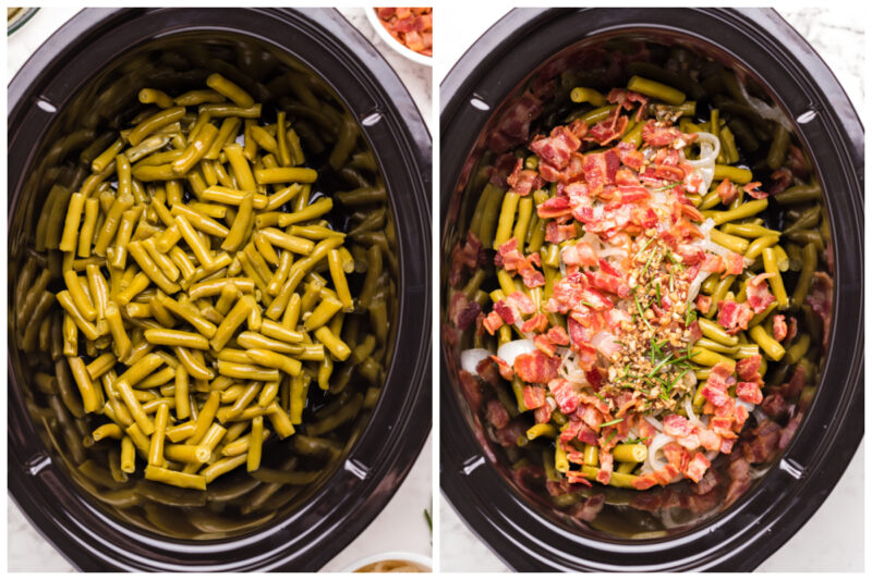 2 photo collage. Green beans in slow cooker and green beans with cooked bacon on top.