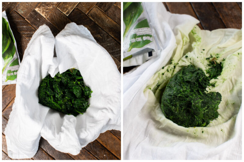 2 photos of frozen spinach on a white tea towel