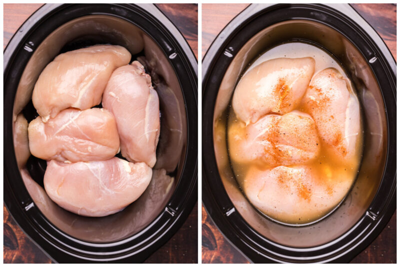 2 image collage. Chicken on one side, chicken with broth and seasoning on the other side.