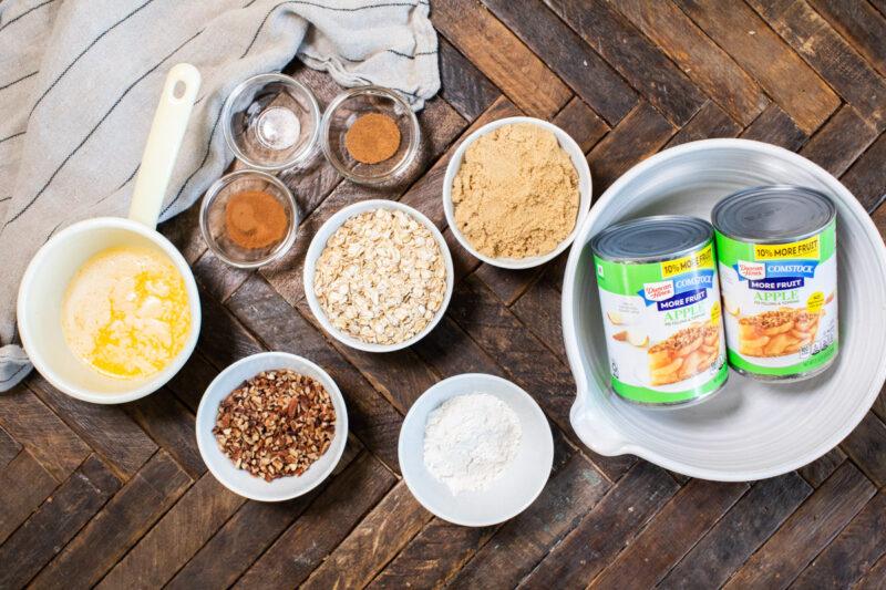 ingredients for apple crisp on table