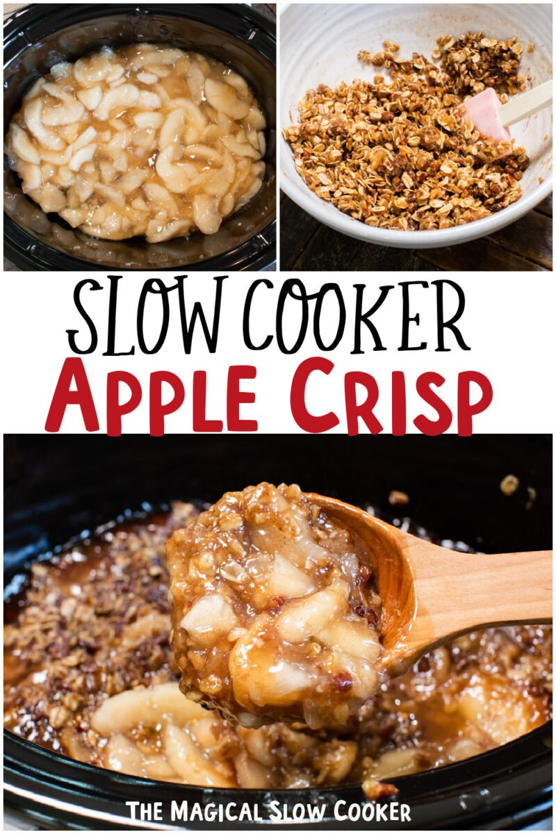 collage of apple crispt images with text overlay for pinterest