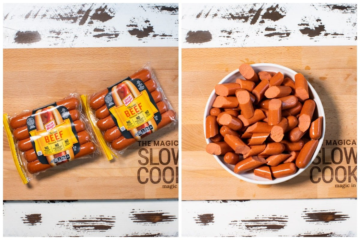 2 image collage of hot dogs. One in packaging and the other with hot dogs cut in fourths