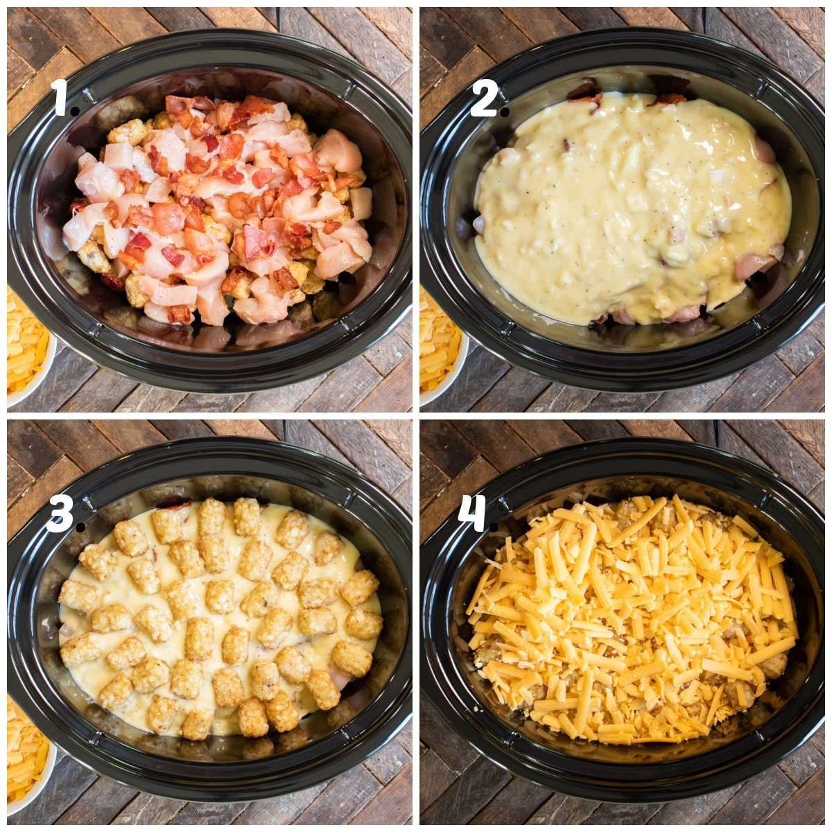 4 image collage on how to assemble tater tot casserole