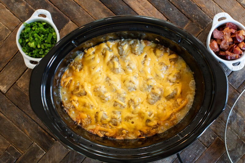 done cooking tater tot casserole in slow cooker