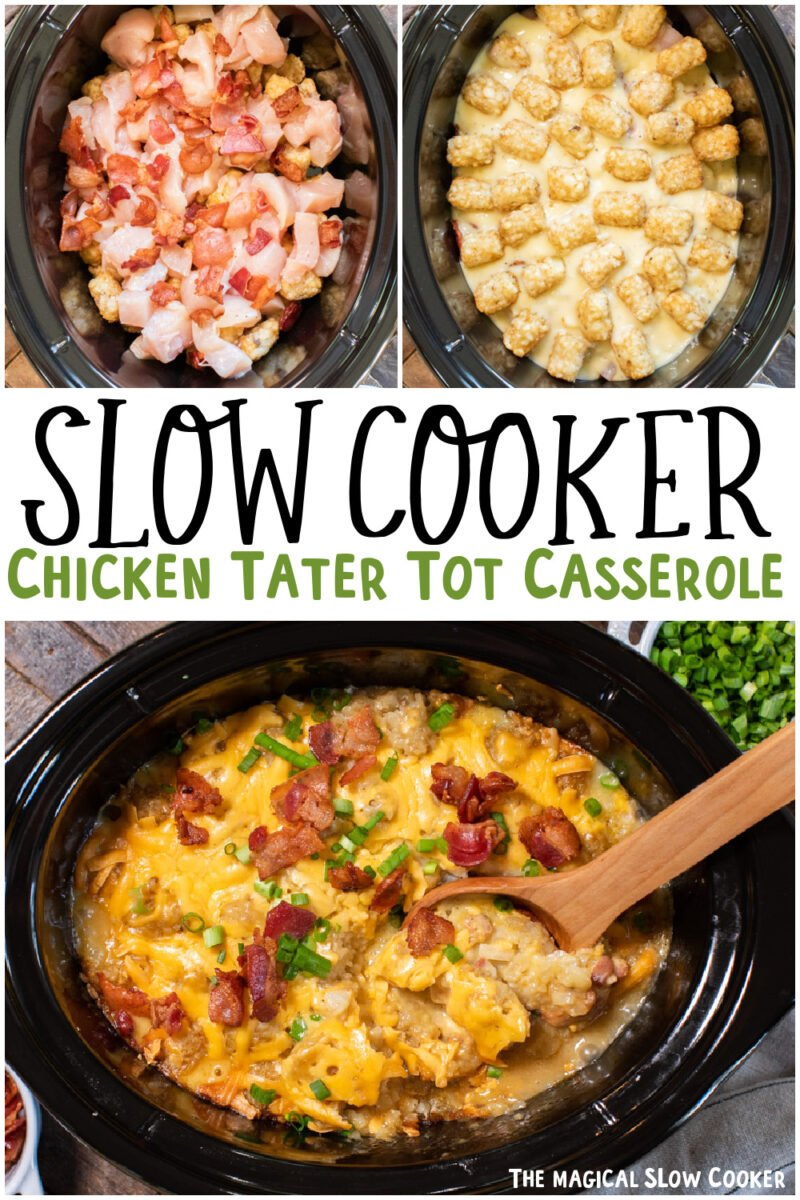 collage of chicken tater tot casserole images for pinterest